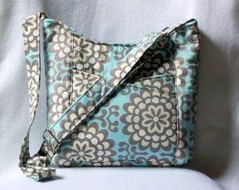 Cross Body Tote Bag with Front Pockets - Amy Butler Wallflower