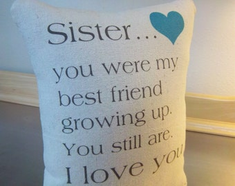 Gift for sister throw pillow cotton sister cushion love quote gift cotton canvas pillow whimsical gift for her unique sibling gift idea