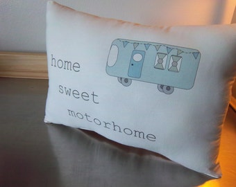 motorhome throw pillow camping cushion rv decor blue green grey retirement gift rv gift  cotton camper pillow neutral snowbird ornament