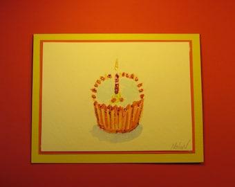 "BIRTHDAY CUPCAKE CARD, Original Handmade Watercolor (""Happy Birthday"" Inside)"