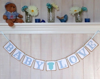 Baby Love Paper Banner - Boy Baby Shower Banner - Baby Shower Decoration - Nursery Decor - Gender Reveal Party