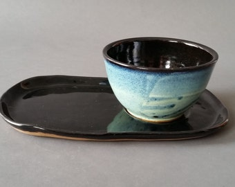 Soup and Sandwich Server Set in Midnight Rain Handmade Pottery