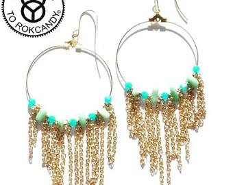 Fringeearrings,rokcandyjewelry, largehoopearrings, tasselearrings, fringeearrings, giftsforher, goldearrings, coralearrings, goldhoops
