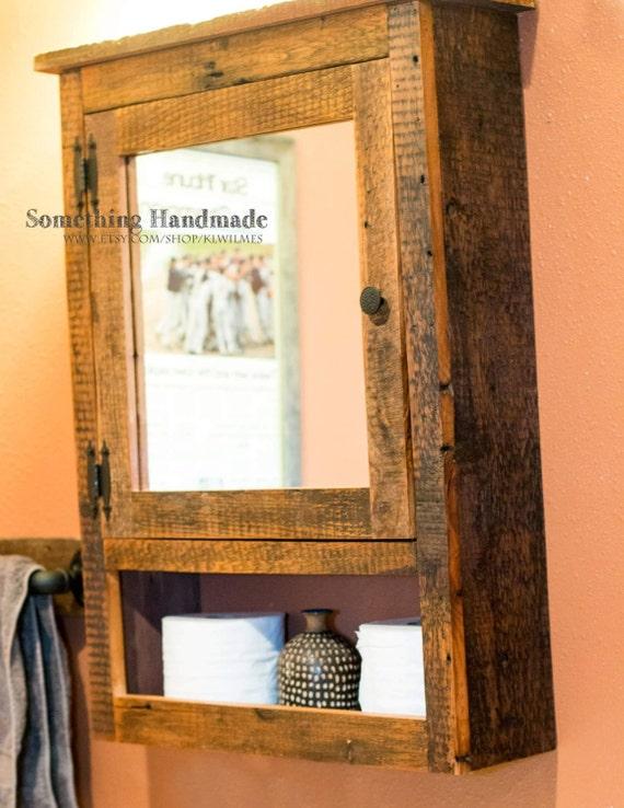 Barn Wood Mirror Rustic Home Decor: Barn Wood Bathroom Cabinet With Mirror Made From 1892 Barn