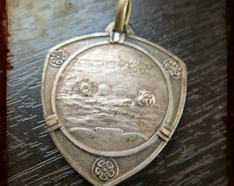 Antique Rasumny French Silver Sports Swimming Medal - Vintage Award pendant decoration ornament Paris Le Touquet pool