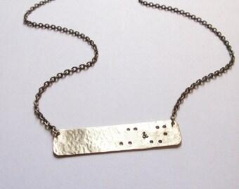 Custom Braille Initials Necklace // Braille-Inspired Necklace // Best Friend // // Boyfriend/Girlfriend