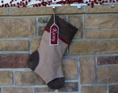 Custom Christmas Stockings for the Family. Fully Lined, Best Quality. Cozy Red and Houndstooth Brown Perfect Gift. Embroidered Tag too!