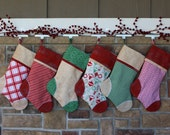 Personalized Christmas Stocking w/ Embroidered Tag. Gift Idea. Best Quality Christmas Stockings  Red & Green Plush Holiday Stocking Sets