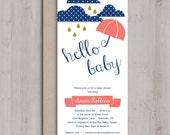 Printable Baby Shower Invitation - Rain Drops Coral Navy Gold