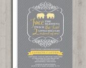 Twin Baby Shower Invitation - Yellow Elephants - Printable