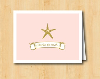 Starfish Thank You Card - Printable - INSTANT DOWNLOAD - Beach Wedding