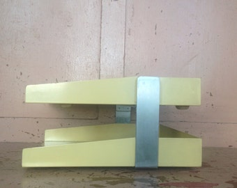 Vintage Antique 1960's Midcentury Modern Yellow Harvest Gold Metal Office In and Out Desk Bin Paper Holder