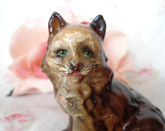Anthropomorphic Cat Vintage Brown Grubby Collectible Green Eyes