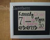 Pink Black Nursery Rose Canvas New Baby Birth Statistics Wall Hanging Subway Art Typography 8 X 10