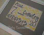 Nursery Decoration Yellow Gray Chevron Custom Birth Announcement 8 X 10