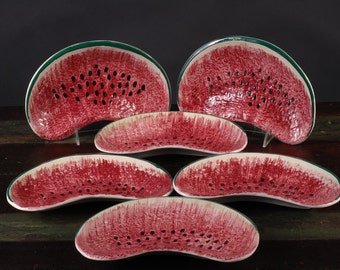 Watermelon Plates, Hand Painted, Italy
