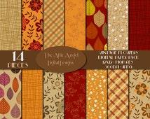 Vintage Flowers Digital Paper Pack, Fall Autumn, Harvest, Plaid, Leaves, Weave, Digital Supplies, Instant Download - Commercial Use CU