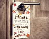 Wedding Door Hangers with Fall Leaves Watercolor Style - Set of 10 Custom Door Tags for Hotel Guests