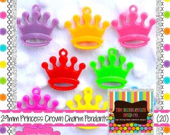 PRINCESS CROWN Pendants Qty 20 Kawaii PENDANTS Chunky Bead Pendant Bubble Gum Bead Bubblegum Beads Princess Crown Pendants Crown Pendants