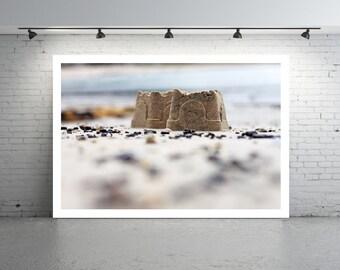 Sandcastle Photo, Beach Photography, Beach Landscape, Castles in the Sand, Pastel Blue, Sand Castles Photo, Beach Photo, Pebbles and Sand