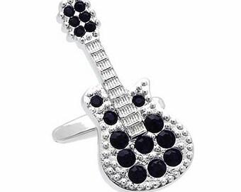 Silver & Black Crystal Guitar Cufflinks