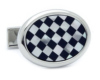 Black Check Orval Shell Cufflinks