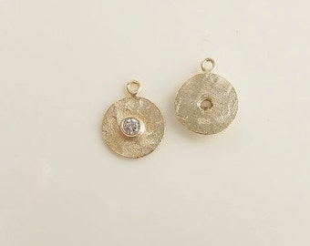 2 pcs Gold Vermeil hammered Round charms with cz (10x12mm),.925 stamped, gold plated over .925 sterling silver