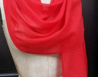 Red Chiffon Shawl Wrap Scarf