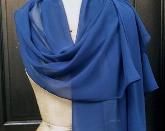 Blue Chiffon Shawl Wrap Scarf