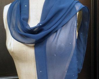 Blue Chiffon Scarf Shawl with Rhinestones