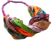 Boho fabric necklace -silk sari ribbon necklace- colorful silk scarf- ethnic necklace- tribal necklace-upcycled jewelry- one-of-a-kind