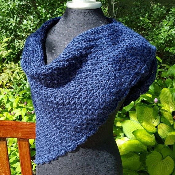 Midnight blue hand crocheted shawl with moss stitching and scallop edging