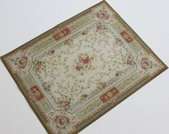 Miniature 1:12 Scale French Floral Aubusson Rug in Shades of Green