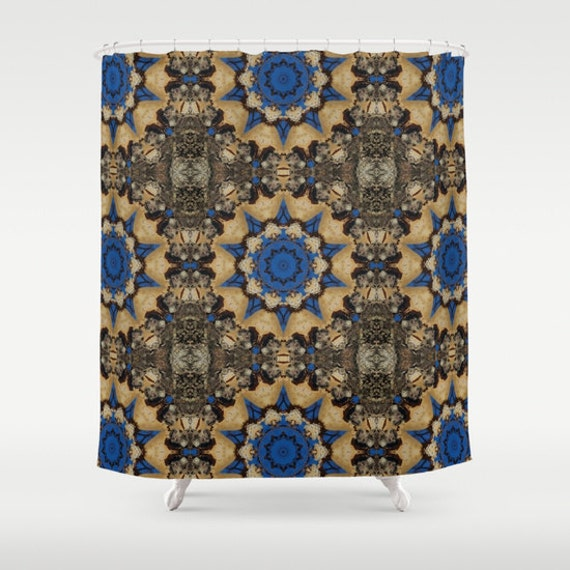 blue and brown botanical mandala shower curtain nature