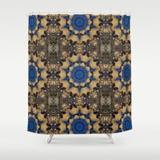 blue and brown botanical mandala shower curtain nature. Black Bedroom Furniture Sets. Home Design Ideas