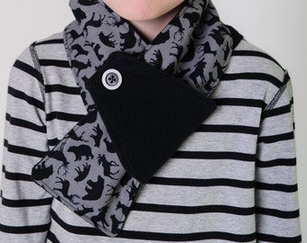 Kids winter scarf, organic cotton fleece scarf, woodland animal print, neutral scarf for toddlers boys girls kids