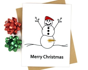 Christmas Card, Funny, Naughty Snowman, XMAS Gift, Holiday Card, Snowman, Naughty, Merry Christmas, Red Hat, Blank
