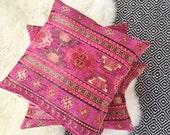 Turkish Kilim Throw Pillow - Pink