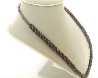 Brown beaded necklace | brown beaded jewelry | glass beaded jewelry | brown necklace bead woven
