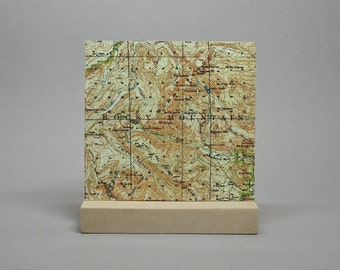 Rocky Mountain Colorado National Park Map on Metal for Desk or Shelf Gift for Hiker Climber Men or Women