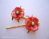 Prom Vintage earrings hair grips - Elegant peach coral flower with pearl in gold pins embellish hair decoration TREASURY ITEM