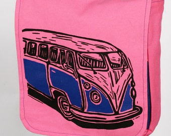 Pink Vintage Van Messenger Bag With Padded IPad Tablet Pocket