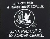 Art Punk Patches Punk Patch Print MLK Martin Luther King Jr Malcolm X Dove Hawk Achieve Change DIY Crust Activist Activism Small Cloth Patch