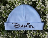 Custom Personalized Embroidered Baby Newborn Hat Cap Disney font, Baby Shower gift, Gift For New Born. Made to order.