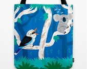 "Reserved order for Ashley - The Koala and the Kookaburra - Tote Bag  - 13"" x 13"""