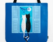 "The Lovecats - Dark Blue - Girls Tote Bag - Book Bag -  Record bag - 18"" x 18"""