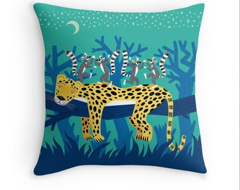 "The Leopard and The Lemurs -  children's decor - illustrated Cushion Cover / Throw Pillow Cover - Animal art - (16"" x 16"") by Oliver Lake"