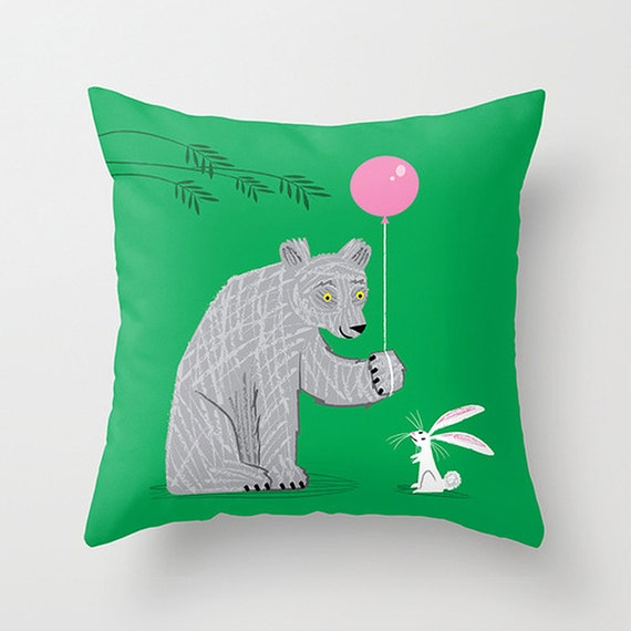 "The Bear and The Bunny -  illustrated Cushion Cover / Throw Pillow (16"" x 16"") by Oliver Lake"