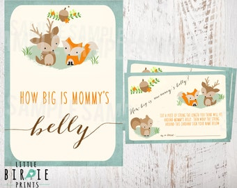 WOODLAND Baby Shower Game How big is mommy's belly? Fox Deer Woodland Baby Shower Game Printable