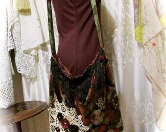 Brown Boho Bag, handmade bohemian hippie upcycled velvet fabric bag, natural earth tones shoulder bag, brown velvet, crossover body strap